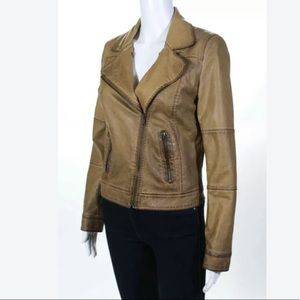 BLU PEPPER VEGAN LEATHER SM MOTO JACKET IN CARMEL